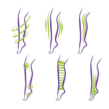 Legs. Problems and treatment - medical massage, compression garment, balms Illustration