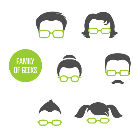 caricature woman: Family Of Geeks, various people in glasses, vector illustration