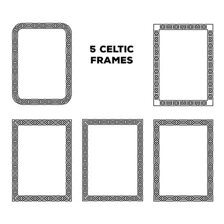 celtico: Insieme di diverse cornici celtica rotonde, illustrazione vettoriale