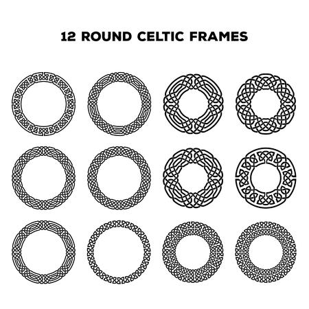 Colección de varios marcos céltica redonda, ilustración vectorial