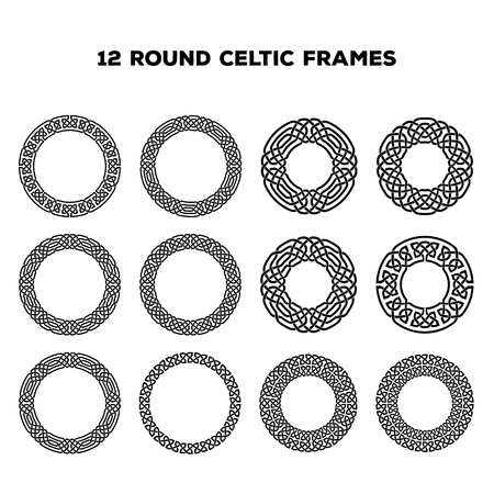celtic: Collection of various round celtic frames, vector illustration