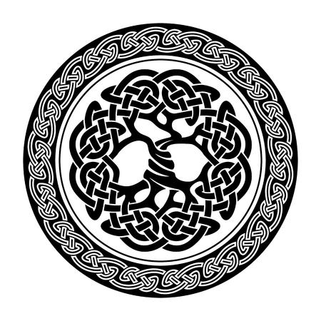 arbol de la vida: Ejemplo blanco y negro del árbol de la vida céltico, ilustración vectorial