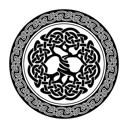 Black and white illustration of celtic tree of life,  vector illustration