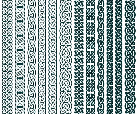 cadenas: Colección de patrones celtas, las fronteras célticas, ilustración vectorial Vectores