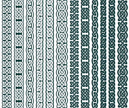 Het verzamelen van Keltische patronen, keltische grenzen, vector illustratie Stock Illustratie