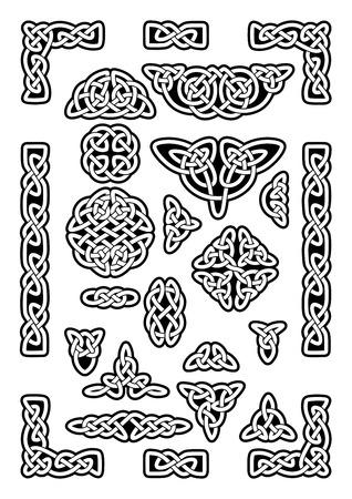 nudos: Colección de varios nudos célticos, marco de celta, ilustración vectorial