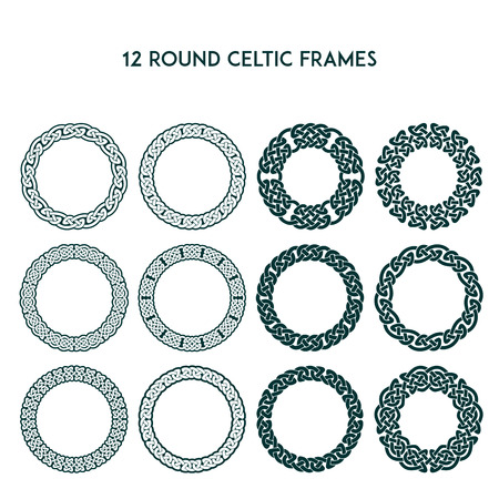 Collection of various round celtic frames, vector illustration