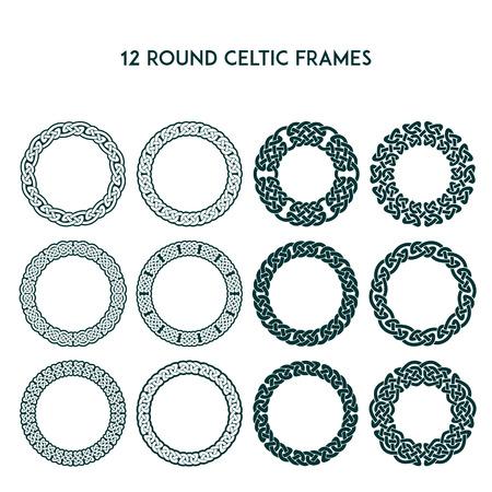 Verzameling van verschillende round keltische kaders, vectorillustratie Stock Illustratie