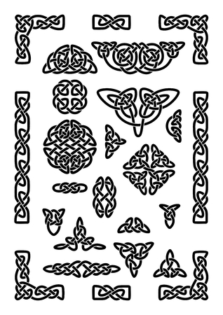 nudo: Colección de varios nudos célticos, marco de celta, ilustración vectorial