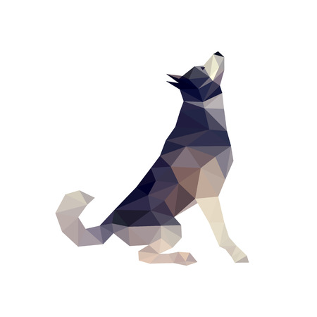 Polygonal style husky dog figure, malamute dog, vector illustration Иллюстрация