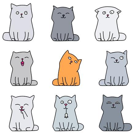 cute kittens: Nine cute  kittens, various cats, vector illustration