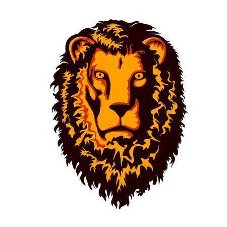 animal silhouette: Lion head illustration isolated on white background