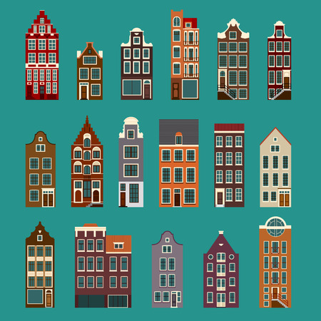 old buildings: Collection of typical european houses, narrow old  buildings