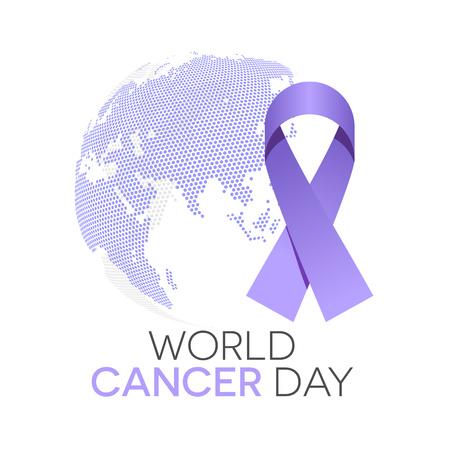 World cancer day illustration, lavender ribbon and the globe in background Illustration