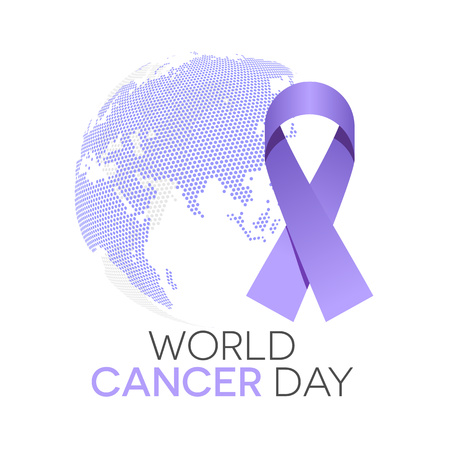 World cancer day illustration, lavender ribbon and the globe in background Çizim