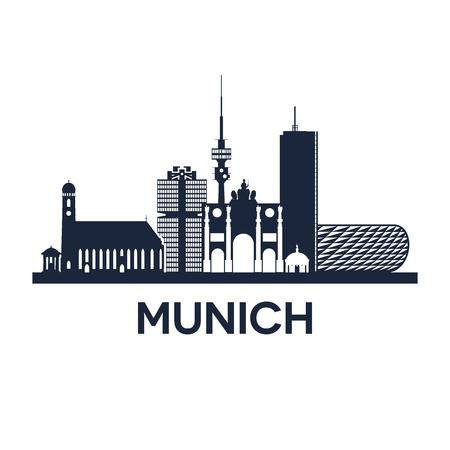 都市ミュンヘン ドイツ、ベクトル図での抽象的なスカイライン  イラスト・ベクター素材
