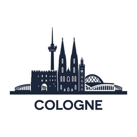 Abstract skyline of city Cologne in Germany, vector illustration Illusztráció