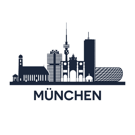 munich: Abstract skyline of city Munich in Germany, vector illustration