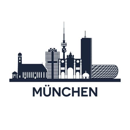 Abstrakte Skyline von Stadt München in Deutschland, Vektor-Illustration