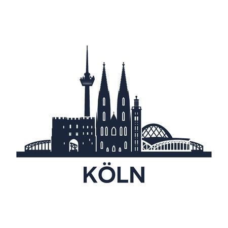 都市ケルン ドイツ、ベクトル図での抽象的なスカイライン