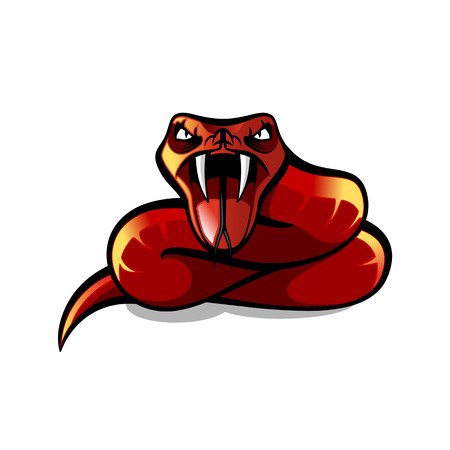 Red aggressive viper, red snake attaking, vector illustration Illustration