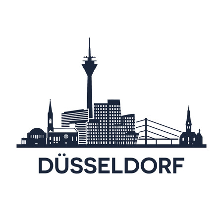 dom: Abstract skyline of city Duesseldorf in Germany, vector illustration