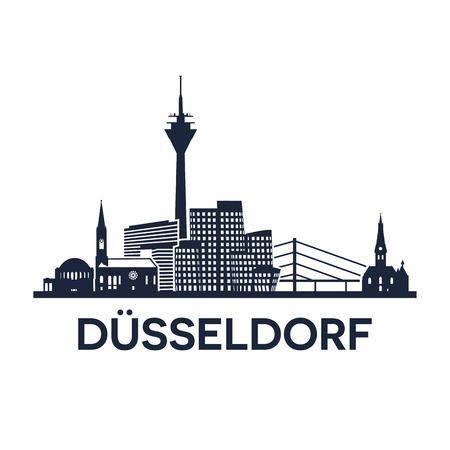 Abstracte horizon van stad Duesseldorf in Duitsland, vectorillustratie