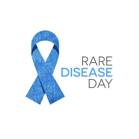 Rare disease day emblem, blue denim ribbon isolated on white