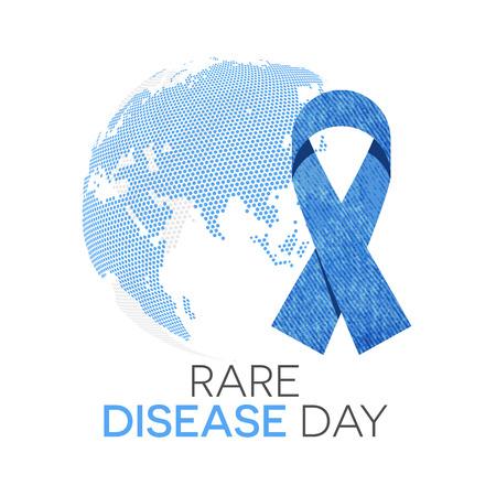 disease: Rare disease day emblem, denim ribbon and the globe in background