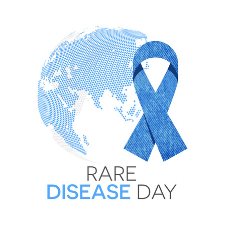 Rare disease day emblem, denim ribbon and the globe in background