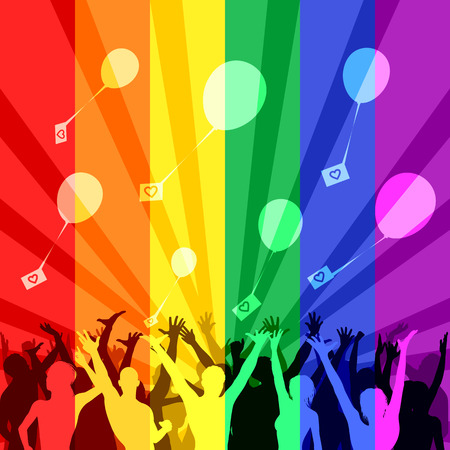 bandera gay: La gente feliz lanzan globos durante una flash mob, bandera LGBT en el fondo