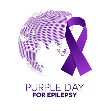 epilepsy: Purple ribbon made of dots on white background. World epilepsy day. Purple Day epilepsy awareness ribbon. Epilepsy solidarity day. Isolated vector illustration.