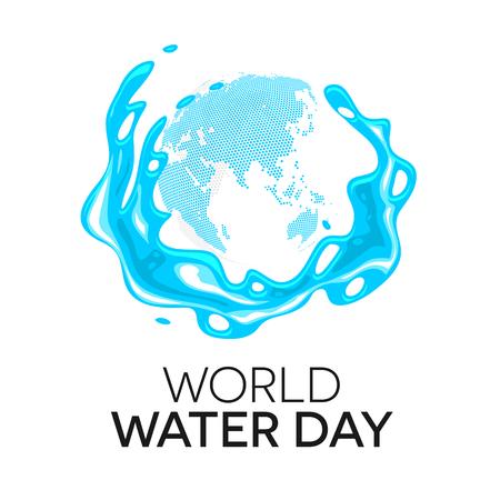Día Mundial del Agua saludo stock vector, salpicaduras de agua ronda