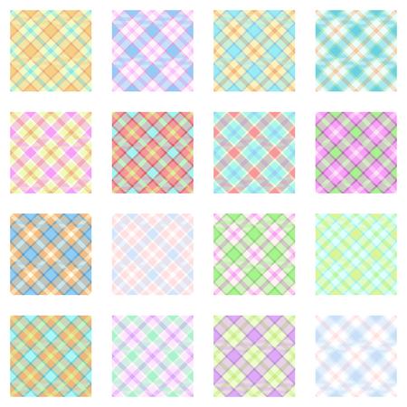 pastel shades: Plaid patterns collection, 16 seamless tartan patterns, pastel shades