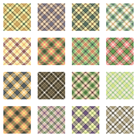 plaid patterns: Plaid patterns collection, 16 seamless tartan patterns, green shades