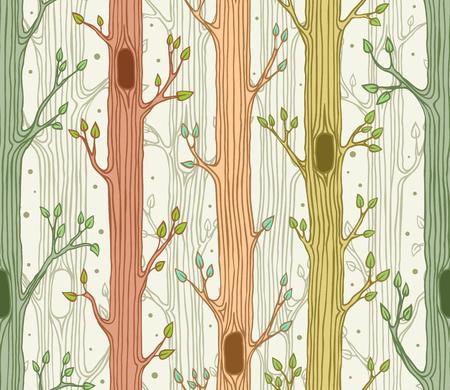 Naadloos patroon met bomen, achtergrond bos, bos in de lente Stock Illustratie