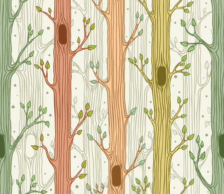 Seamless pattern with trees,woodland background, forest at spring