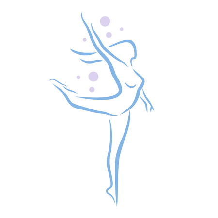 Abstract woman in dancing poses, lineart silhouette