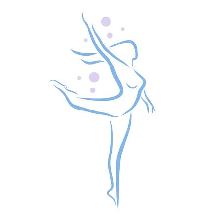 Abstrakte Frau im Tanz Posen, lineart Silhouette