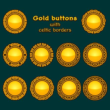 gold circle: set of ten golden celtic knotwork buttons on dark background