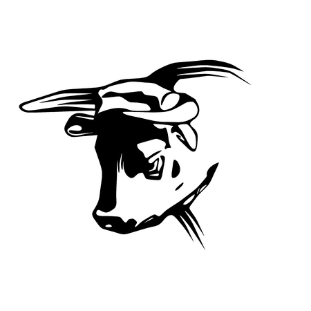 angry bull: Head of angry bull, illustration isolated on white Illustration