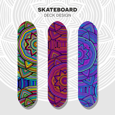 green street: Three skateboard colorful designs in ethnic style