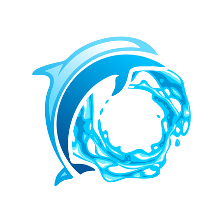 dolphins: Dolphin emblem, blue dolphin on the waves Illustration