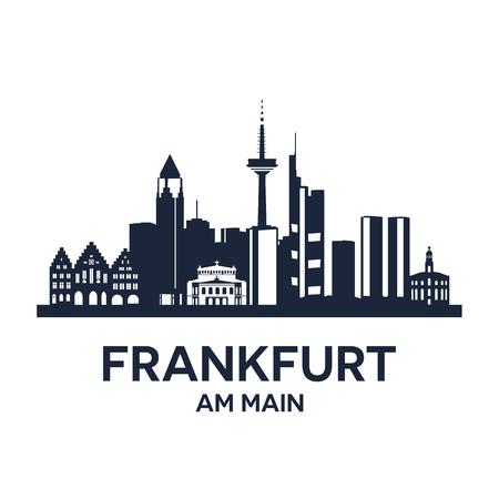 Estratto skyline della città di Francoforte sul Meno, illustrazione Archivio Fotografico - 54784373