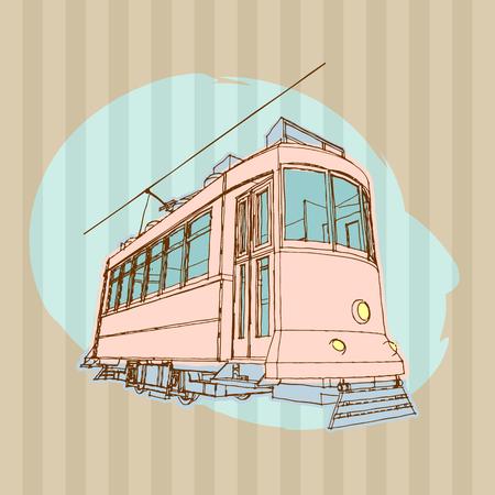 tramcar: retro tram. illustration of vintage tramcar. Illustration