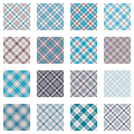 plaid patterns: Plaid patterns collection, 16 seamless tartan patterns, turquoise and beige shades Illustration