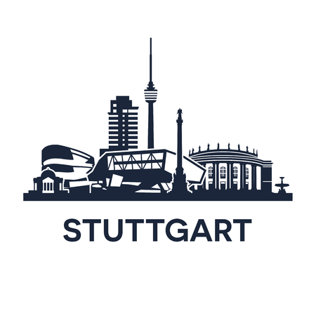 market place: Abstract skyline of city Stuttgart in Germany, illustration