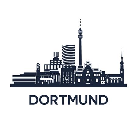 Abstracte skyline van de stad Dortmund in Duitsland