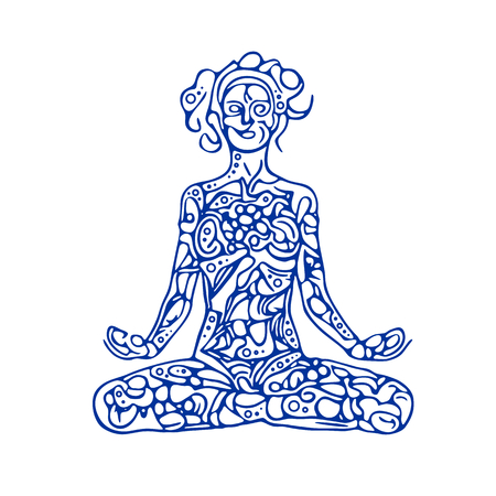 woman pose: Meditating woman illustration. Abstract woman figure in lotus pose.