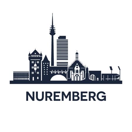 Abstrakte Skyline von Stadt Nürnberg in Deutschland Illustration